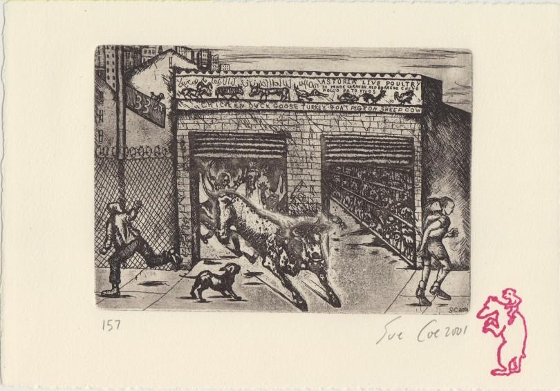 Queenie Escapes the Slaughterhouse - Sue Coe