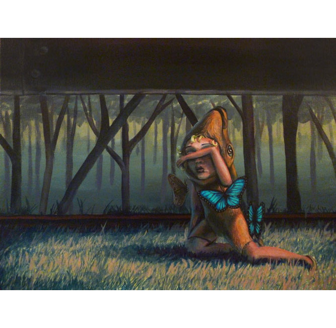 Deer Child Surrounded by Blue Butterflies near Train Tracks - Sarah Stupak