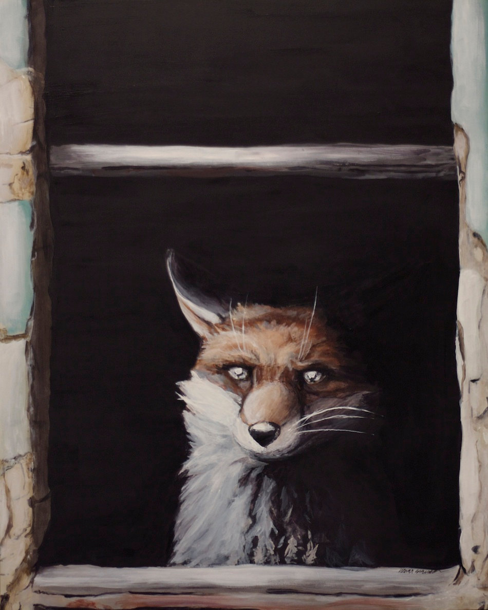 Eerie Fox in Abandoned House Window - Sarah Stupak