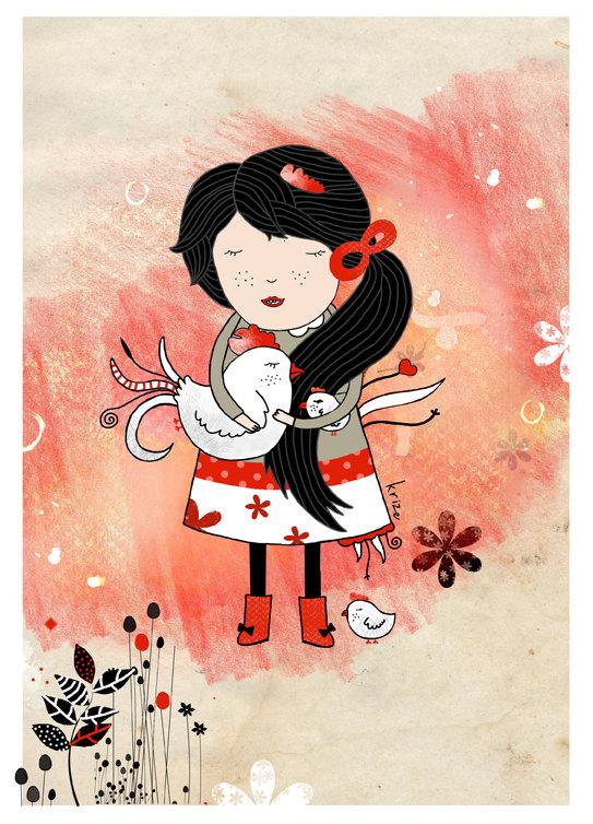 Girl with Chicken - Kristina Sabaite