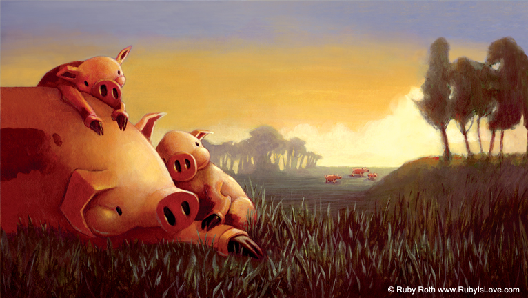 Pigs in Sunset - Ruby Roth